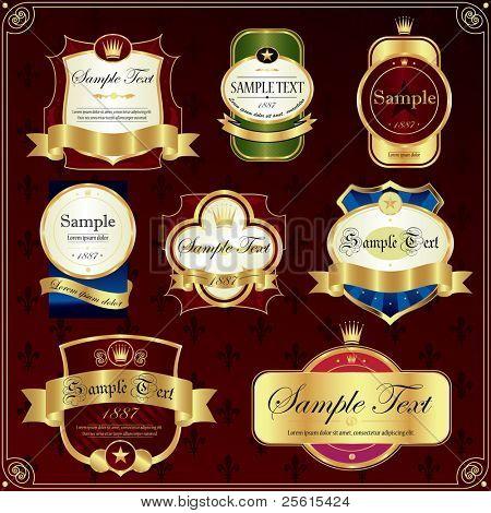 Detailed ornate various color label set.