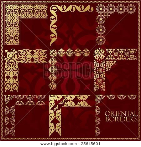 Oriental style ornament elements. All components are easy editable and can be assembled.