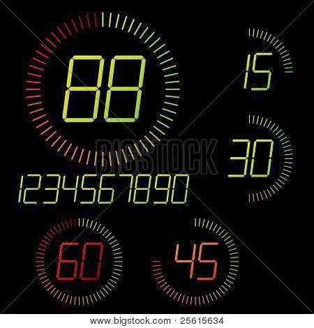 Digital timer illustration. Easy editable 15 min interval timer icons and digits set