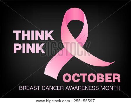 October Breast Cancer Awareness Month Vector Image. Realistic Pink Ribbon Illustration For Medical F