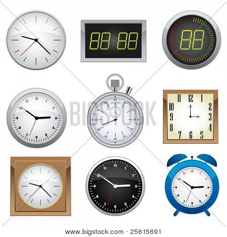 Clock set. Office, digital, timer, stopwatch, alarm.