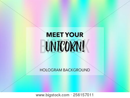 Cute Hologram Gradient Vector Background. Bright Trendy Tender Pearlescent Color Overlay. Rainbow Ho