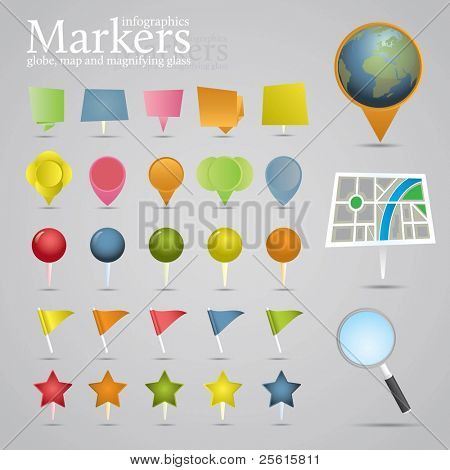 Markers, globe, map and magnifying glass. Icon set.