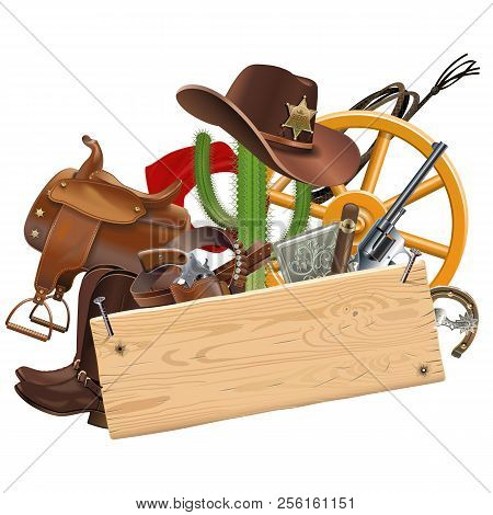 Vector Cowboy Concept With Wooden Plank Isolated On White Background