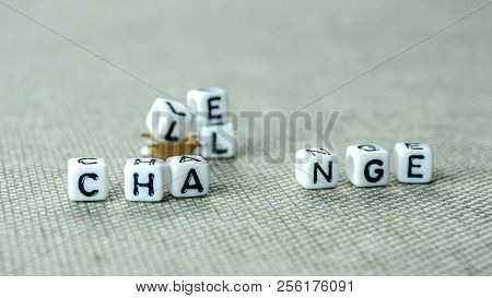 Removing White Cubes With Letters L And E Of The Word Challenge Creating New Word Change On Grey Bac
