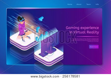 Gaming Experience In Virtual Reality Isometric Web Banner With Woman In Vr Headset, Sitting On Floor