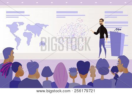 Business Project Or It Product Presentation, Company Shareholder Report Or Science Conference Cartoo