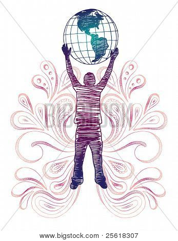 Silhouette of person holding globe.