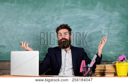 Teacher Wondered Low Level Of Knowledge. What Stupid Thought. Man Bearded Teacher Wondering Expressi