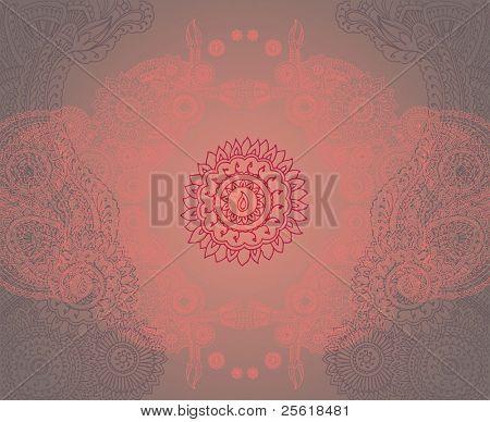 Henna styled symmetrical mandala background