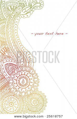 Highly detailed hand drawn henna border in summer colors with room for text.