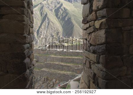 Ruins Of Ancient Citadel Of Inkas On The Mountain, Pisac, Peru. Cuzco.
