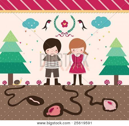 Cute Boy and Girl Design Elements. Happy Kids are Walking in Beautiful Forest