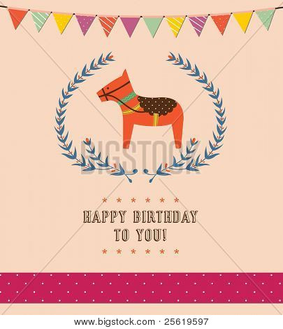 Lovely rocking horse with text for Happy Birthday card. Vector Illustration.