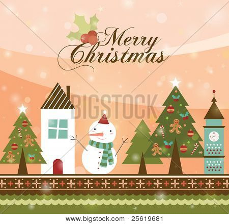 Beautiful Christmas Tree in Town illustration. Retro Christmas Card.b