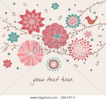 Romantic Floral Background with Bird.