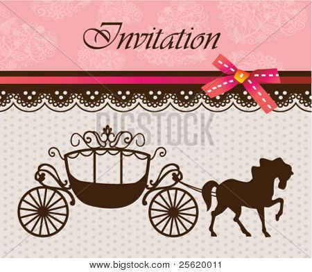 Invitation card with carriage & horse