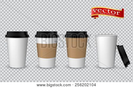 Blank Realistic Coffee Cup Mockup. Paper Cups Isolated On White. Plastic Coffee Cup Templates. Vecto