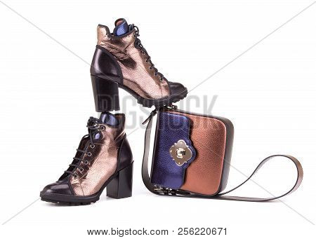Fashionable Set Of Shoes And Bags. Bag And High-heeled Shoes. Shoes And Bag On White Background.