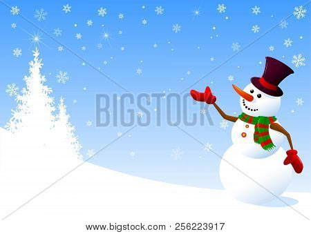 A Snowman In A Hat Welcomes On A Winter Background. Snowman On A Background Of Fir-trees And Snowfla