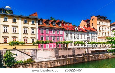 View On Colorful Historic Buildings In The Old Town Of Ljubljana - Slovenia
