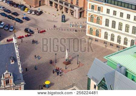 Riga, Latvia - May 05, 2017:  Squre Of The Old City Riga.  Architecture Of Old Town Of Riga. Riga Is