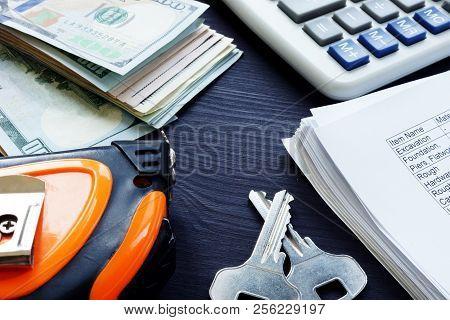 Renovation cost. Money, keys and budget estimate list. poster