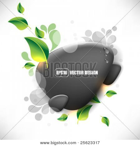 eps10 vector stone, leaf and water elements background design