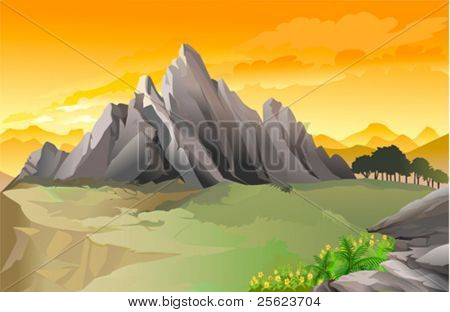 Magnificent western rocky mountain panorama with golden sky
