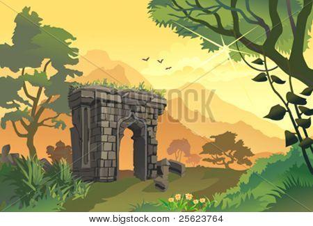 Sunrise by   hillside  ancient gate â?? remains of bygone era
