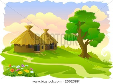 African tribal huts and tree