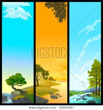 NEW BANNERS  - SET OF 3 NATURE   THEMES - RIVER, TREE AND  SKY