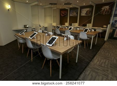 Kuala Lumpur, Malaysia - August 07, 2018 : Smart Library For Reading Ebook Using Computer Tablet. Fu
