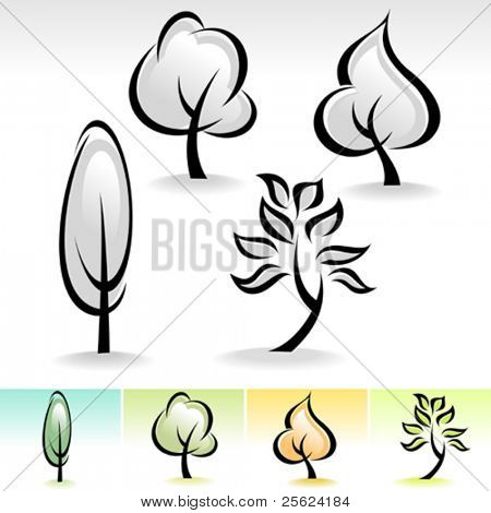 ABSTRACT CALLIGRAPHIC TREE ICON SET