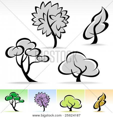 NEW ! ABSTRACT CALLIGRAPHIC TREE ICON SET