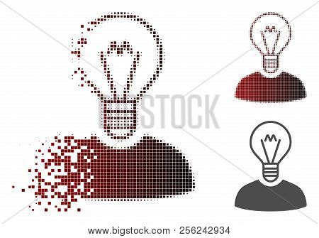 Bulb Inventor Icon In Dissolved, Pixelated Halftone And Undamaged Whole Variants. Particles Are Comb