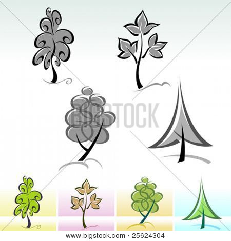 Calligraphic Tree ICON Set - Editable Vector