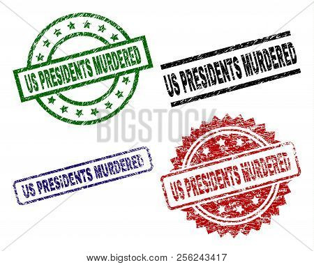 Us Presidents Murdered Seal Prints With Corroded Surface. Black, Green, Red, Blue Vector Rubber Prin