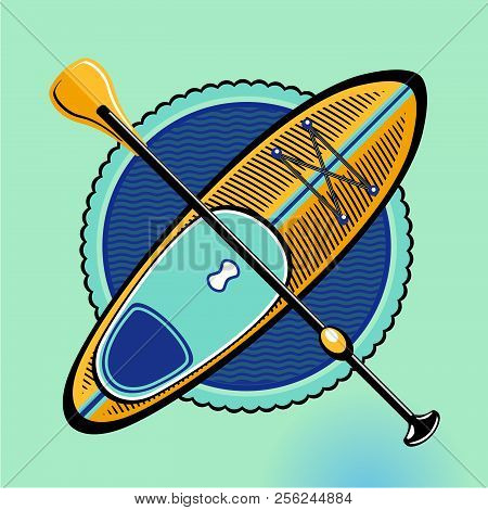 Sup. Standup Padle Boarding Vector Sign. Vintage Icon On Isolated Backround. Surf Board And Paddle.