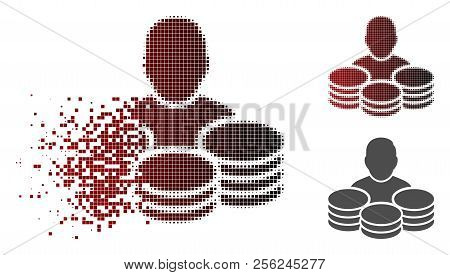 Rich Man Icon In Dispersed, Dotted Halftone And Undamaged Solid Versions. Pixels Are Organized Into