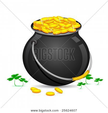illustration of Gold Coin Pot of Saint Patrick Day with clover leaves