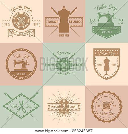 Set Of Tailor Shop Vector Colored Vintage Labels, Badges, Emblems And Logos, Sewing Atelier Retro De