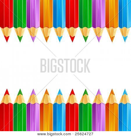 illustration of row of colorful pencil on white isolated background