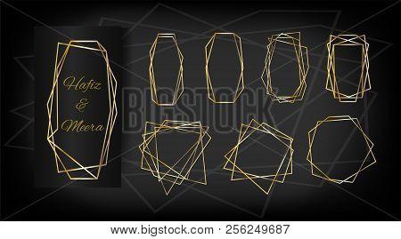 luxury set of golden frames elegant wedding invitation vector birthday new year christmas holidays border collection sparkle gradient rich golden ads
