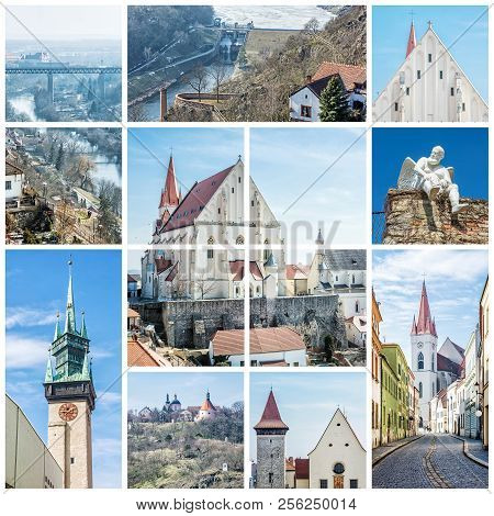 Best Of Znojmo, Moravia, Czech Republic, Europe. Collage Of Travel Images.