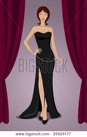illustration of gorgeous lady standing in evening gown in a party