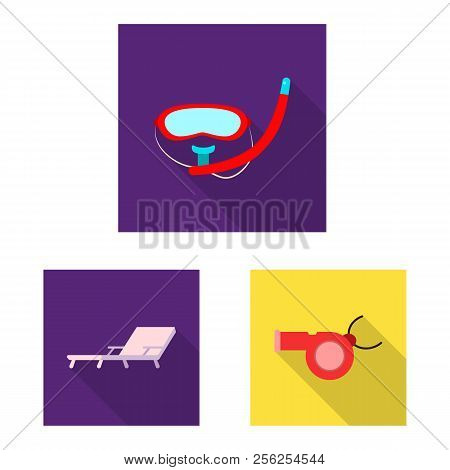 Vector Illustration Of Pool And Swimming Sign. Set Of Pool And Activity Stock Vector Illustration.
