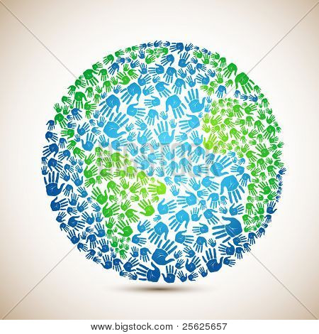 illustration of earth made of human hand on abstract background
