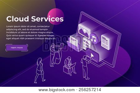 Cloud Data Storage And Remote Data Access Flat 3d Isometric Business Concept. People Stand At The Op