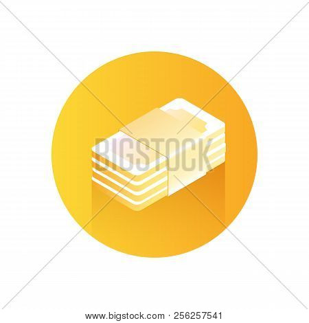 Paper Money Icon. Stack Of Money On Orange Background. Modern Icon With Gradient. Image For The Site